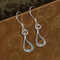 E037 Wholesale 925 silver earring 925 silver fashion jewelry earring Hollow Water Drop Earrings