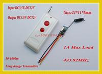 DC3.5V-12V Mini Receiver Remote Control Switch Small Volume No Sound Remote Switch 433MHZ Long Range Micro Wireless Switch  3.7v