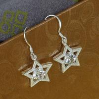 E136 Wholesale 925 silver earring 925 silver fashion jewelry earring Inlaid Star Earrings
