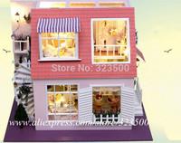 "DIY Wooden Dollhouse Miniature Furniture Doll House ""Mediterranean mansion"" Handmade Hobby Casinha de boneca"