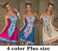 M L XL XXL Plus Size Woman Clothes Woman Casual Dress Bohemian Print Sexy Dress Vintage Floral European Style 6893
