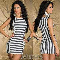 2014 New Lady Black and White Fashion Striped Dress Pinstripe Clubwear Party Women Casual Stripe Mini Dresses 6993