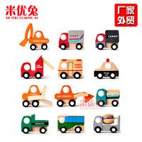 Wooden car model  12 creative children's toys wholesale mini car model