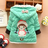 2014 girls child  pigtails girl little girl warm coat child coat wholesale cell block