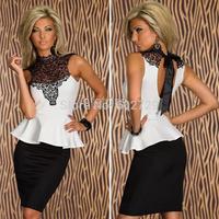Plus Size Women Design White Lace Dress Fashion Office Lace High-Necked Peplum Party Bodycon Denim Women Clothes Sleeveless 6886