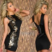 Cheap Fashion Black Foil Bodycon Round collar Sleeveless Vintage Sexy Pirnt Casual Girl Dress women Club 2014 7196