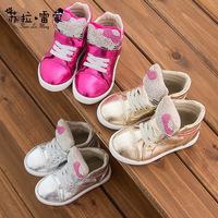 2014 Winter new Korean version cartoon cat girls diamond plate cotton non-slip boots casual cotton boots high to help
