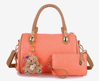 European Fashion Handbags 2014 Women Pink Tote Bags Messeger Shoulder Bag Leather Handbag Teddy Bear Charm Cluth Bag HolidayGift