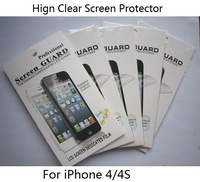 40 PCS/LOT High Clear Screen Protector For iPhone 4 4S, Screen Film In Retail Packing ,Factory Price,Free Shipping