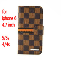Classic Lattice Wallet Case for iphone 6 4.7 inch plus 5.5 Luxury Grid Leather 3 color cover for iphone 5 5s 4 4s cases