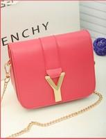 2014 new candy-colored PU small bag Y-shaped shoulder bag diagonal package mini bag handbag