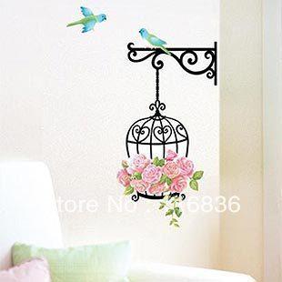 tapete frete grátis: promoção gaiola decorativa casamento diy removível vinil decoração 3d wall sticker romântico flor decalque(China (Mainland))