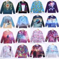 2014 Fashion Women/Men rihanna Pullovers 3D sweatshirt cat animal printed sweaters casual Hoodies top blouse