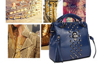 retail Women messenger bag Women's rivet Handbag 2014, Quality Women's Shoulder bags woman Leather  skull metal style handbags