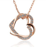 (36 pcs/lot) necklaces & pendants Gold Plated Fashion Jewelry Top Quality Crystal Heart and Heart Necklaces