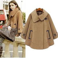 2014 new winter coat woolen coat jacket cape coat large size women in Europe and America
