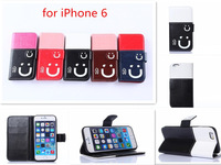 High Grade Contrast colors Smile leather case for iphone 6, Folio Card slots Wallet Stand PU leather Cover case for iphone 6