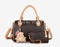 Vintage Black Embossed Shoulder Bags Women Tote Handbags Designer Leather Bag Clutch Evening Bag Teddy Bear Charm Holiday Gift