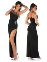2014 ML17718 Spandex Polyester Elegant Wholesale Black One Shoulder Sexy Costume Free Shipping One-shoulder Long Evening Dress