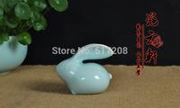 Chinese ceramic teaset accessories porcelain longquan celadon tea pet rabbit blue ornament car decoration accessories fine china