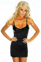 Cheap Sexy Black Clubwear Women Fashion Dresses For Summer Ruffled Back Hole Sequin Mini Short Dress Free Shipping ML17625