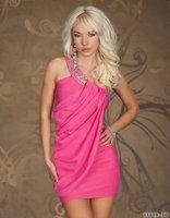 Free Shipping Hot Sale Polyester Summer Cotton Dress ML17749 Women Ladies One Shoulder Pink Dresses One-shoulder Mini Dress