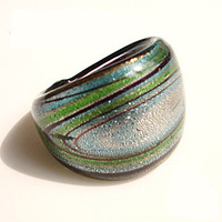 Free Shipping Fashion Ring Handmade Universe Pattern  Murano Glass Rings