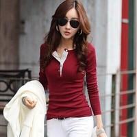 Blusas Femininas 2014 T Shirt Women Ladies Casual Long Sleeve V Neck Wine Solid Color Plus Size S-XXL Basic Tops Cotton T Shirts