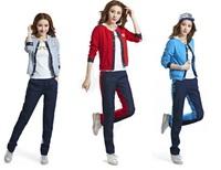 New 3 pcs/set 2014 women sport suits hoodie track suit ladies fashion sportswear for Autumn blue red gray S M L XL