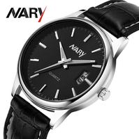 NARY  brand new watch calendar man watches quartz watch 6115 pu waterproof watches