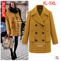 2014 New Winter Female overcoat  Loose Plus size 5XL women Wool trench Coat fashion warm design  Free shipping