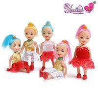 5pcs/lot 10cm Confused doll gift mini girl dolls kelly Fashion Popular dolls plastic girl gift dolls toys Free shipping
