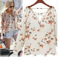 New Fashion Ladies' elegant floral print blouse V-neck casual vintage long sleeve shirt slim high quality brand designer tops