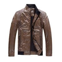 Free Shipping Men PU Leather Jacket Brand Casual Fashion Zipper Jackets Coats Slim Fit Down Jackets Top Quality Plus Size m-XXXL