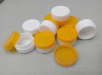 30PCS/LOT-5G Cream Jar,White Plastic Box With Orange Screw Cap,Small Sample Cosmetic Container,Empty Mask Canister,Nail Art Cans