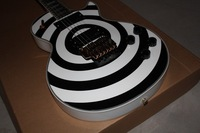 zakk black and white circle double roll electric guitar