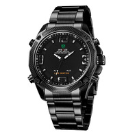 WEIDE WH2306B Men Sports Watches Analog Quartz LED Dual Time Date Alarm Tungsten 30M Water Resistant Men's Military Watch