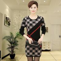 2014 pullovers Women winter loose cardigan autumn long sweaters Women big plaid sweater dresses brand female clothing