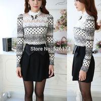 Plus size long-sleeved blusas Women Casual lace shirt Spring 2014 Korean New fashion Slim Women tops Sexy Sheer blouses