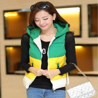 Free shipping warm winter jacket women Fashion joker mixed colors hooded vest women sleeveless jacket for women