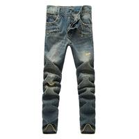 Men's casual biker jeans Male fashion hole slim denim pants Long trousers Free shipping