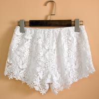 Bermuda Lace Embroidery Feminina Shorts Rendas Encajes Embellished Embroidered Mini Lace Trim feminino Floral Bermudas Pants