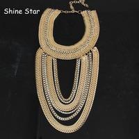 Fashion Gothic Multilevel Chunky Gold Crystal Chain Mix Pendant Statement Choker Collar Bib Necklace Women Jewelry Item,C39