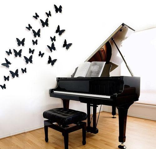 12Pcs/Pack Vinyl 3D Removable Decorative Black Butterflies Wall Stciker For Kids Room Christmas 3D Art Wall Decals Home Decor(China (Mainland))