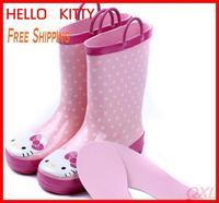 2014 New Summer Brand Children's Rubber Rainboots For Kid Girl Cute Hello Kitty Shoes Children Kids Girls Rain Boots