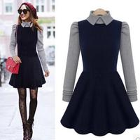 doll collar long-sleeved winter dress, autumn dresses, vestidos casuais, woman dress autumn 2014, vestidos casual free shipping