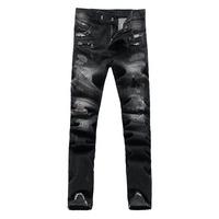 Men's fashion hole denim biker jeans Male casual patch black beggar pants Slim long trousers Free shipping