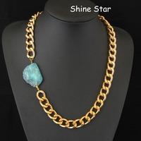 Fashion Chunky Gold Plated Chain Statement Choker Collar Semi-precious stone pendant Necklace Women Jewelry Item,C43