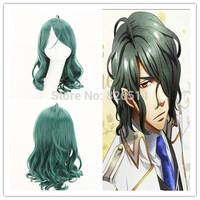 Free Shipping Halloween Party Green Wavy Cosplay Wig Medium Kamigami no Asobi  Hades Aidoneus Anime Cosplay Wigs