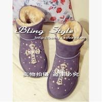 Free shipping handmade candy color sew custom sheepskin bow diamond pearl leather snow boots women  2